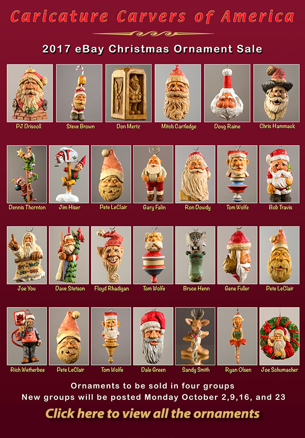 Caricature Carvers of America 2017 eBay Christmas Ornament Sale
